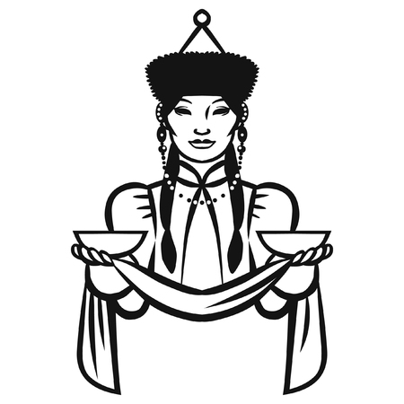 Pretty woman in traditional buryatian costume. Member of native siberian people. Vector hand drawn illustration isolated on white background.