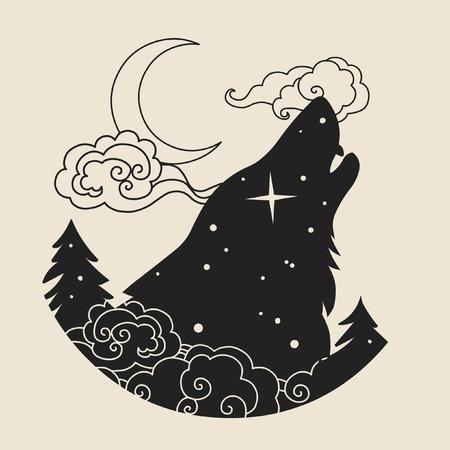 prairie dog: Howling wolfs head. Tattoo sketch, logo design t shirt print in boho style. Vector illustration Illustration