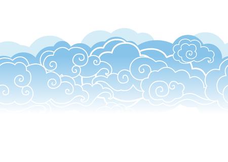 Wolken in de lucht. Vector naadloos patroon Stock Illustratie