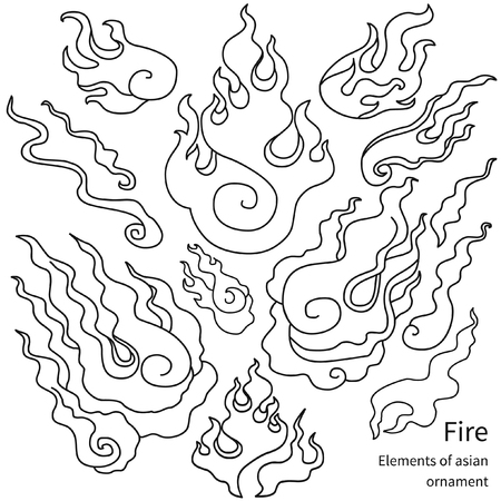 Fire. Set of graphic elements in asian style. Vector illustration Illustration