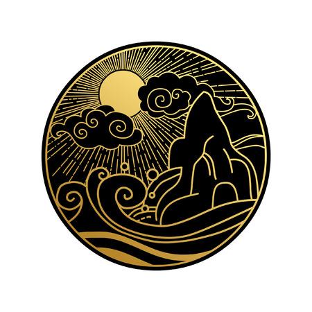 Sun in the sky over the sea. Decorative graphic design element. Vector illustration in oriental style 版權商用圖片 - 74694591