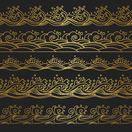 Set of horizontal seamless borders in oriental style. Waves. Vector hand drawn illustration