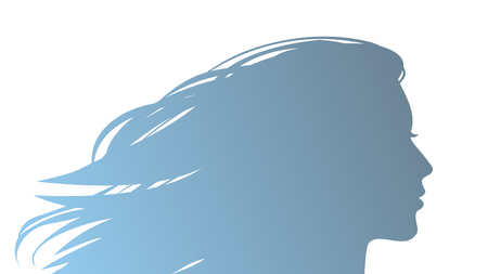 Silhouette of beautiful young woman with flowing hair. Vector hand drawn illustration
