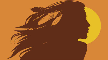 Silhouette of beautiful young woman with feathers in her flowing hair. Vector hand drawn illustration
