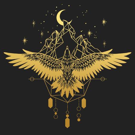 Grand oiseau de proie. Silhouette d'or sur fond noir. Vector illustration dessinée à la main. Modèle pour tatouage temporaire, t-shirt imprimé et autre
