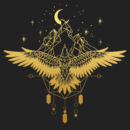 soar: Soaring bird of prey. Gold silhouette on black background. Vector hand drawn illustration. Template for temporary tattoo, t-shirt print and other