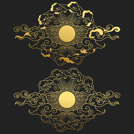 Sun in the cloudy sky. Decorative graphic design elements in oriental style. Vector hand drawn illustration