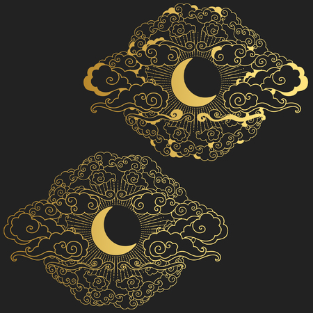 Moon in the cloudy sky. Decorative graphic design elements in oriental style. Vector hand drawn illustration 일러스트