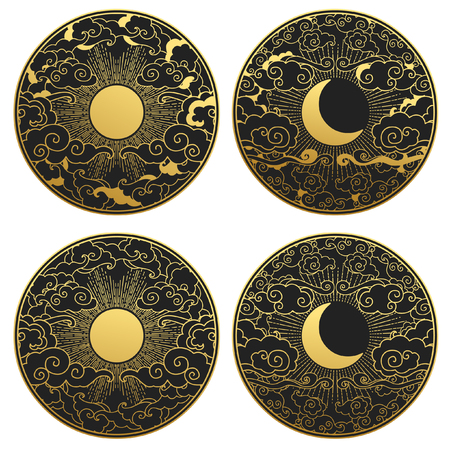 Sun and moon in the sky. Collection of decorative graphic design elements in oriental style. Vector hand drawn illustration