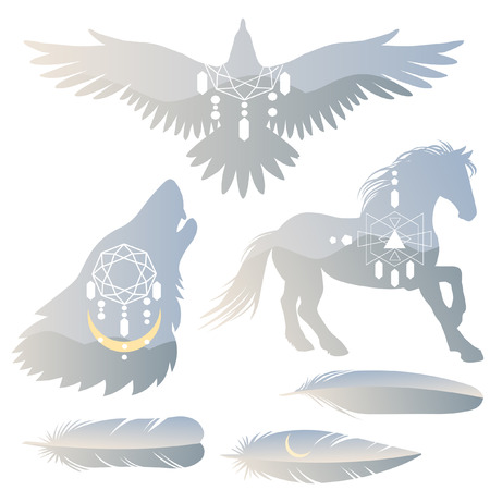 Set of vector templates for stickers, banners, labels and other design in boho style. Silhouette of running horse, bird of prey, howling wolf with double exposure effect