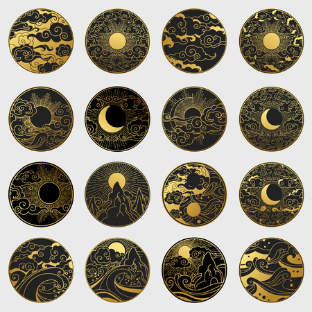 Big collection of decorative graphic design elements in oriental style. Sun, Moon, sky, ocean, mountains. Vector hand drawing illustration