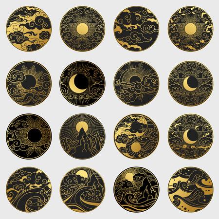 Grote verzameling decoratieve grafische designelementen in oosterse stijl. Zon, maan, lucht, oceaan, bergen. Vector hand tekenen illustratie Stock Illustratie