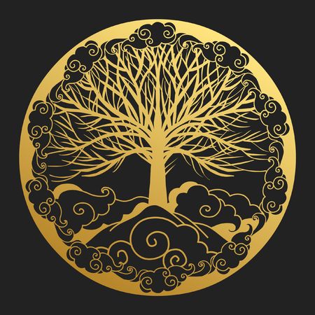 Logo design in oriental style. Sacred tree on top of a mountain. Hand drawn vector illustration 向量圖像