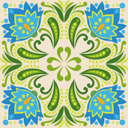 Square tile design. Blue flowers on light background.Vector illustration in folkloric style