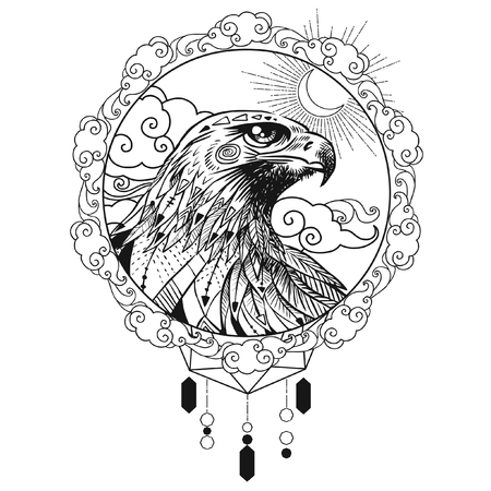 Vector hand drawn bird of prey head. Illustration in bohemian style. Illustration