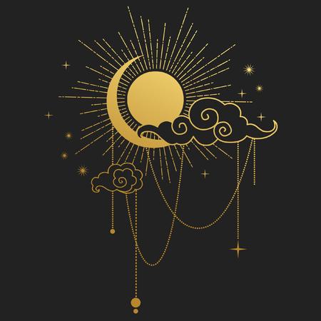 indian teenager: Moon and Sun on black background. Vector illustration Illustration