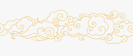 Clouds in the sky. Vector seamless border in oriental style