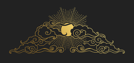 Sun in the cloudy sky. Decorative graphic design element in oriental style. Vector hand drawing illustration