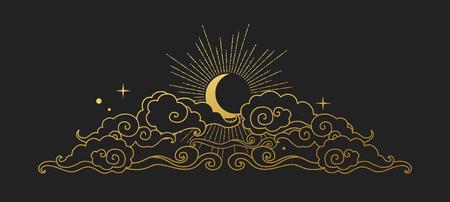 Luna nel cielo nuvoloso. Elemento decorativo di design grafico in stile orientale. Illustrazione di disegno vettoriale mano