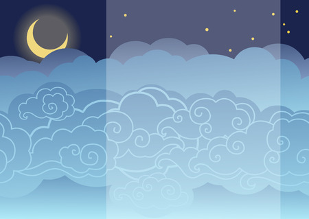 Moon in the night cloudy sky. Vector background.