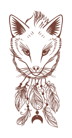 Dream catcher with fox head. Vector hand drawn illustration on white background Illustration