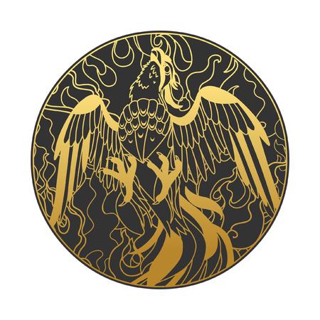 Phoenix in fire. Vector hand drawn illustration in oriental style. Çizim