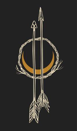Arrows and moon. Vector hand drawn illustration on black background Ilustração
