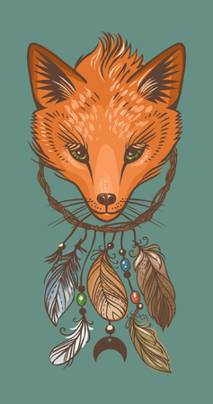 Dream catcher with fox head. Vector hand drawing illustration Illustration