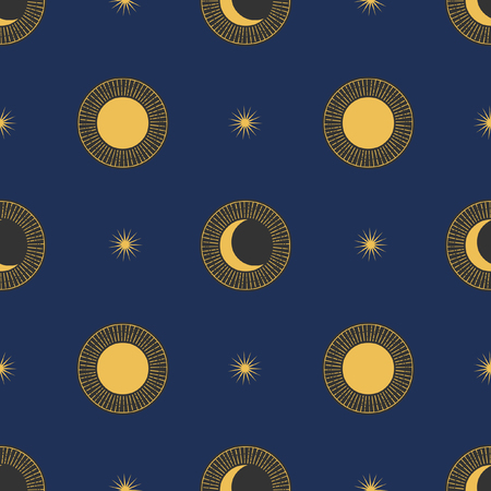 Vector seamless pattern with cosmic objects. Stars and planets on dark background Illustration