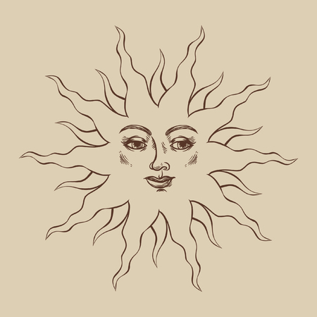 luminary: Smiling sun. Vector hand drawn illustration in medieval style.