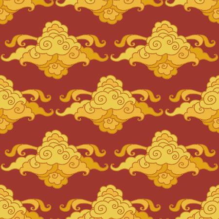 Traditional oriental ornament. Clouds on the sky. Vector seamless pattern Vektoros illusztráció