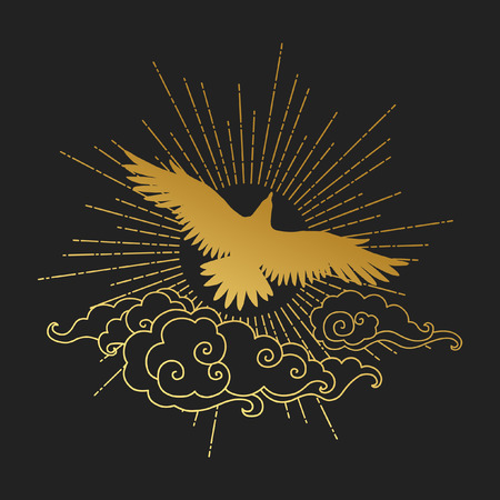 Soaring bird of prey. Gold silhouette on black background. Vector hand drawn illustration. Template for temporary tattoo, t-shirt print and other