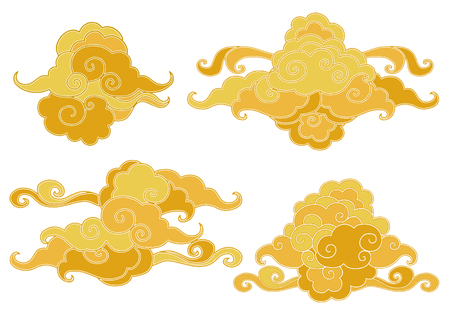 Elements of the traditional oriental cloudy ornament in the golden shades. Vector collection