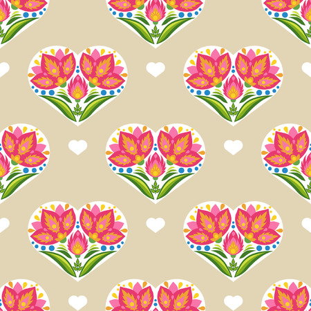 Floral vector seamless pattern with flowers and hearts in the east european folkloric style Illustration