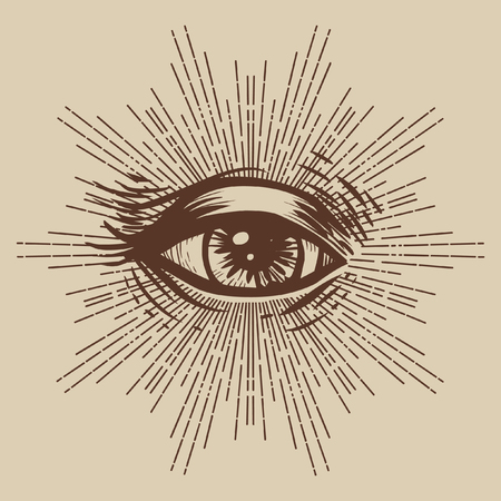 Masonic symbol. Seeing eye. Vector illustration Иллюстрация
