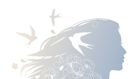Silhouette of a beautiful young woman with flowing hair, swallows and flowers. Vector hand drawing illustration