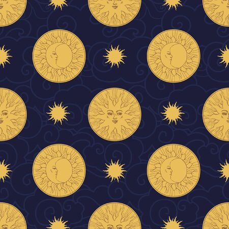 Vector seamless pattern in vintage style. Moon and sun on dark background