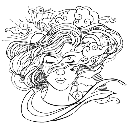 Beautiful magic lady. Adult coloring book page. Vector illustration