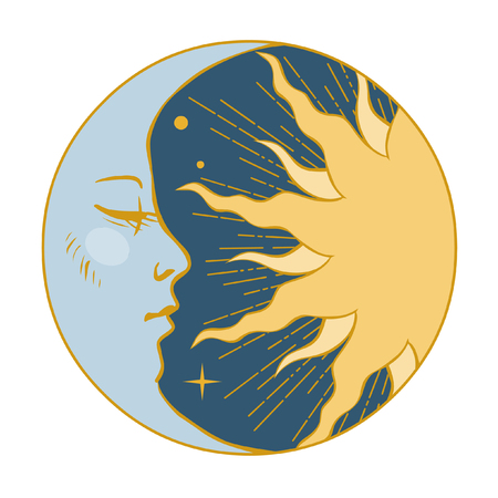 Moon and Sun. Vector illustration in vintage style Çizim