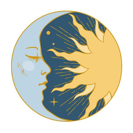 Moon and Sun. Vector illustration in vintage style Illustration
