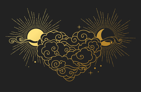 Cloudy heart with sun and moon on black background. Vector illustration