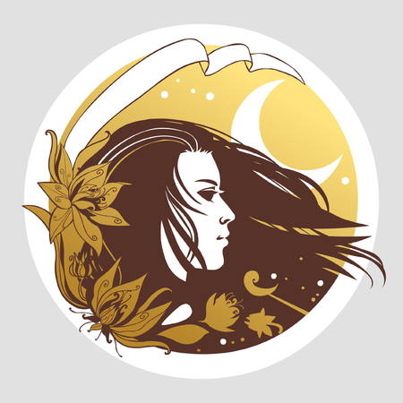 Beautiful young woman with flowing hair. Vector illustration in bogo style