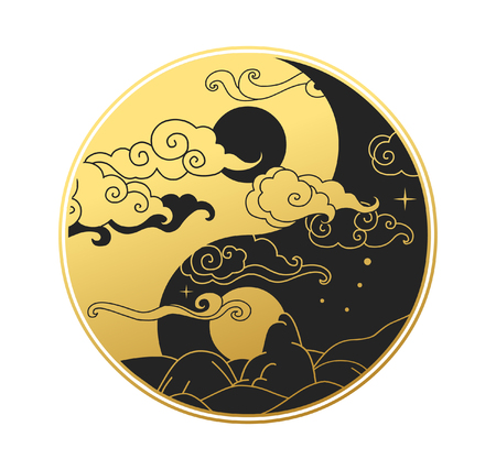 Oriental symbol ying and yang vector illustration.