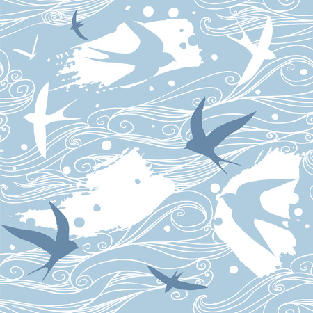 Swallows in the sky vector seamless pattern. Vettoriali