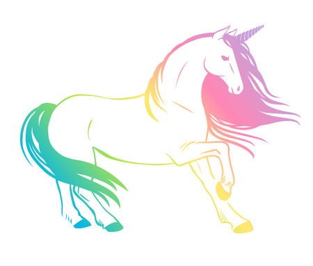 Rainbow unicorn. Vector illustration