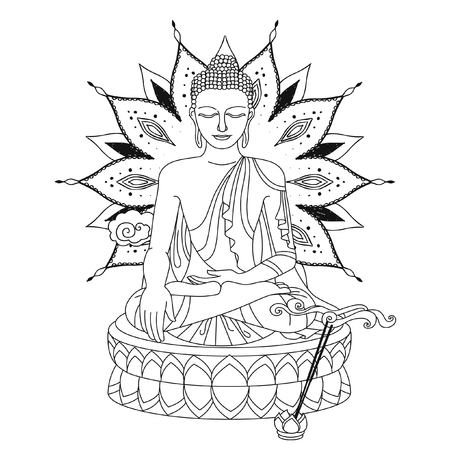 Sitting Buddha. Vector illustration for adult coloring book