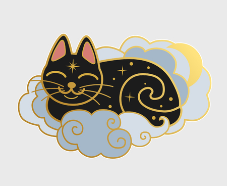 Pretty sleeping black cat vector hand drawing illustration. Ilustrace