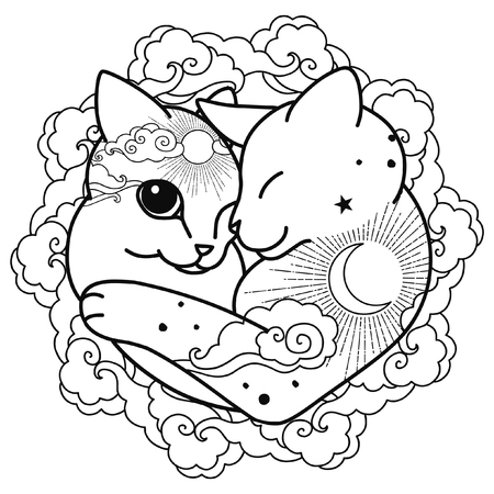 Cute hugging cats with ornament in oriental style. Vector illustration