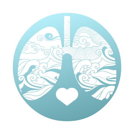 Silhouette of human lungs with sea landscape in blue tones. Vector illustration