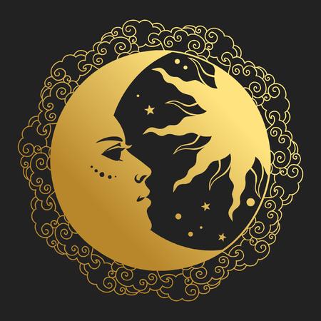 Księżyc i Słońce w okrągłej ramie. Ilustracja wektorowa w stylu retro